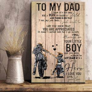 Father's Day Canvas, From son to dad, To My Dad Biker A Man To Raise A Child Wood Frame Canvas