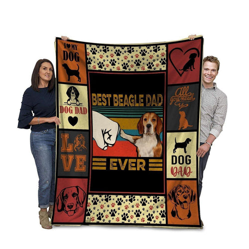 Dog Blanket Best Beagle Dad Ever Beagle Dog Bump Fit Fleece Blanket
