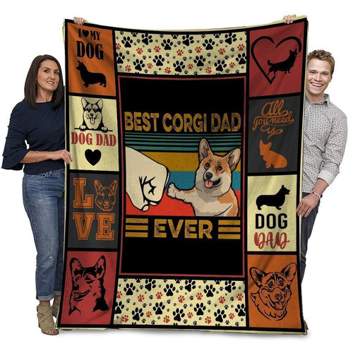 Dog Blanket Best Corgi Dad Ever Corgi Dog Paw Bump Fit Fleece Blanket - Family Presents - Great Blanket, Canvas, Clothe, Gifts For Family