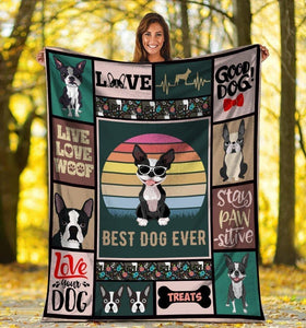 Dog Blanket Best Dog Ever Boston Terrier Dog Glasses Fleece Blanket - Family Presents - Great Blanket, Canvas, Clothe, Gifts For Family