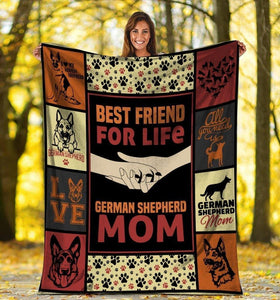 Dog Blanket Best Friend For Life German Shepherd Dog Mom Fleece Blanket