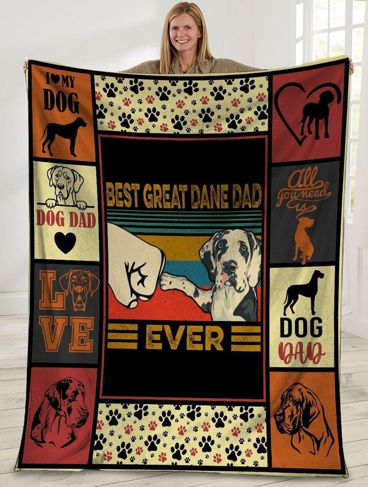 Dog Blanket Best Great Dane Dad Ever Great Dane Dog Paw Bump Fit Fleece Blanket