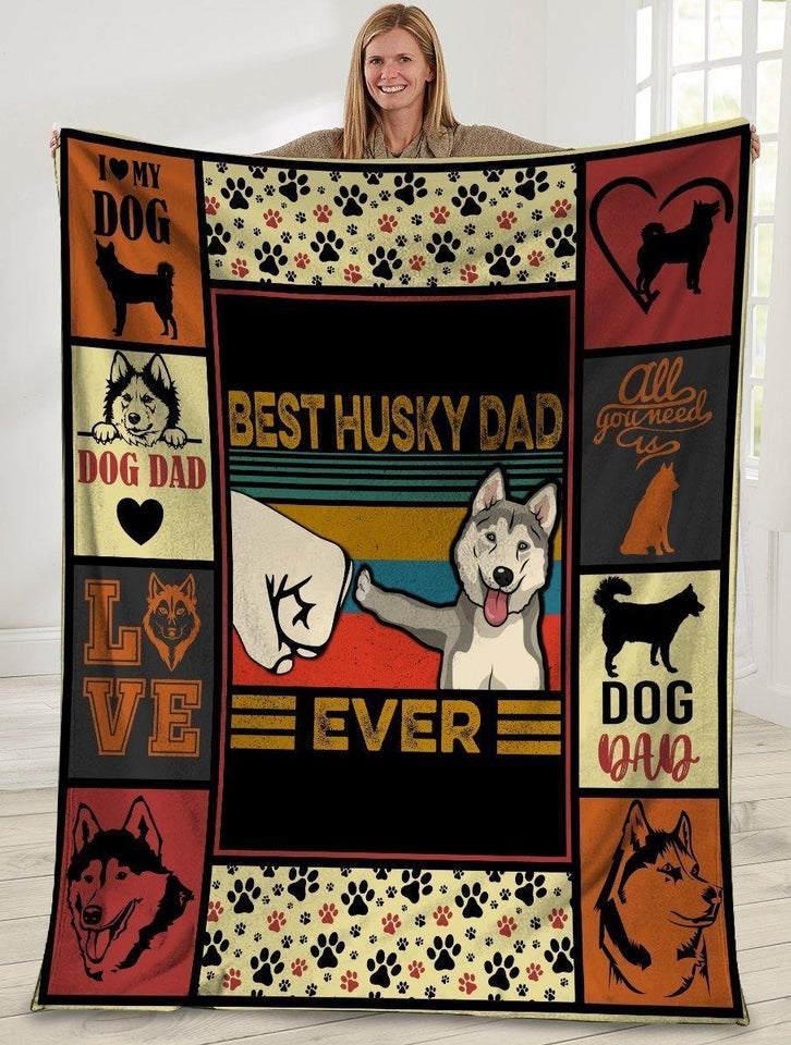 Dog Blanket Best Husky Dad Ever Siberian Husky Dog Paw Bump Fit Fleece Blanket