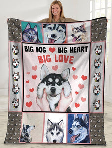 Dog Blanket Big Dog Big Heart Big Love Siberian Husky Dog Fleece Blanket