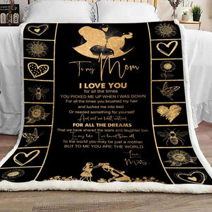 Personalized Mothers Day Blanket, Gift for mom from daughter, To me you are the world fleece blanket