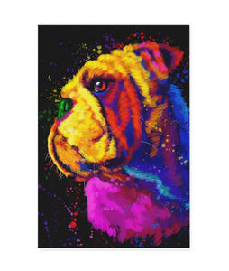Bulldog Matte Canvas Print, Canvas Wall Art for Living Room, Bathroom Wall Decor, Water Color 30B