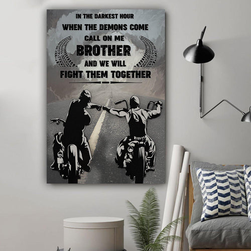 (LL12) Biker Canvas - Call on me brother - Family Presents - Great Blanket, Canvas, Clothe, Gifts For Family