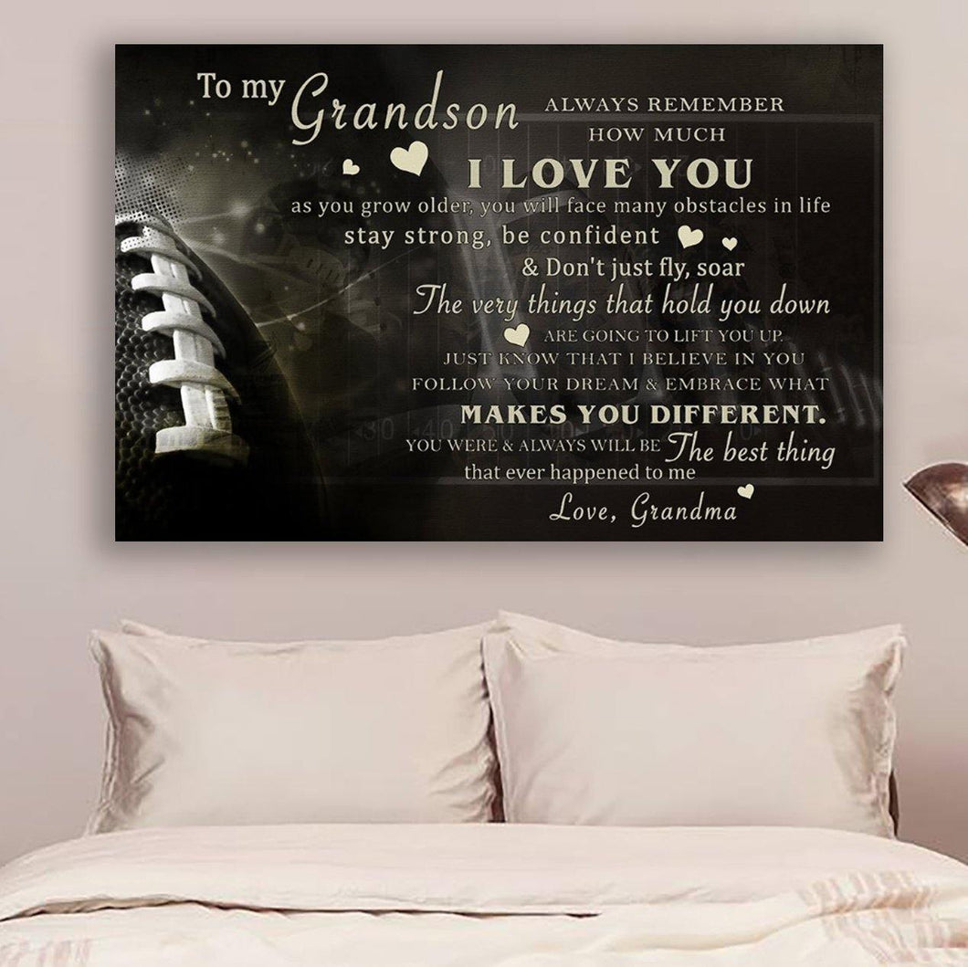 (CV526) American football Canvas - grandson grandma- never lose LDA