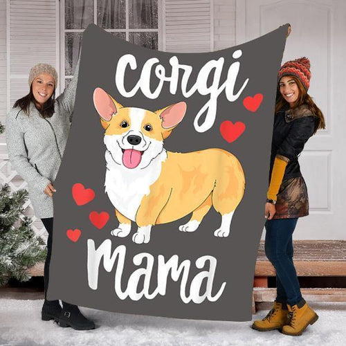 Custom Blanket Corgi Dog Blanket - Perfect Gift For Mama - Fleece Blanket - Family Presents - Great Blanket, Canvas, Clothe, Gifts For Family