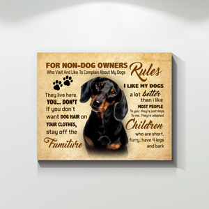 Dachshund Rules For Non Dog Owners Canvas Prints Wall Art