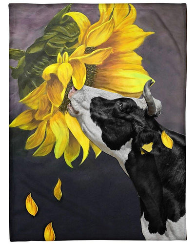 Dairy Cattle Blanket, Dairy Cattle Sunflower Fleece Blanket
