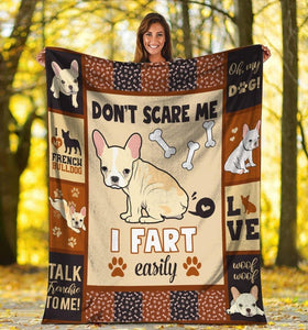 Dog Blanket Don't Scare Me I Fart Easily French Bulldog Dog Fleece Blanket - Family Presents - Great Blanket, Canvas, Clothe, Gifts For Family