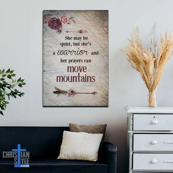 """Her Prayers can Move Mountains"" Premium Canvas"