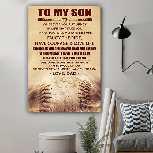 (LL2) Baseball Canvas - Dad to son - Enjoy the ride - Family Presents - Great Blanket, Canvas, Clothe, Gifts For Family