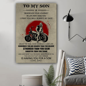 (L185) Biker Canvas - Dad to Son - You are braver - Family Presents - Great Blanket, Canvas, Clothe, Gifts For Family