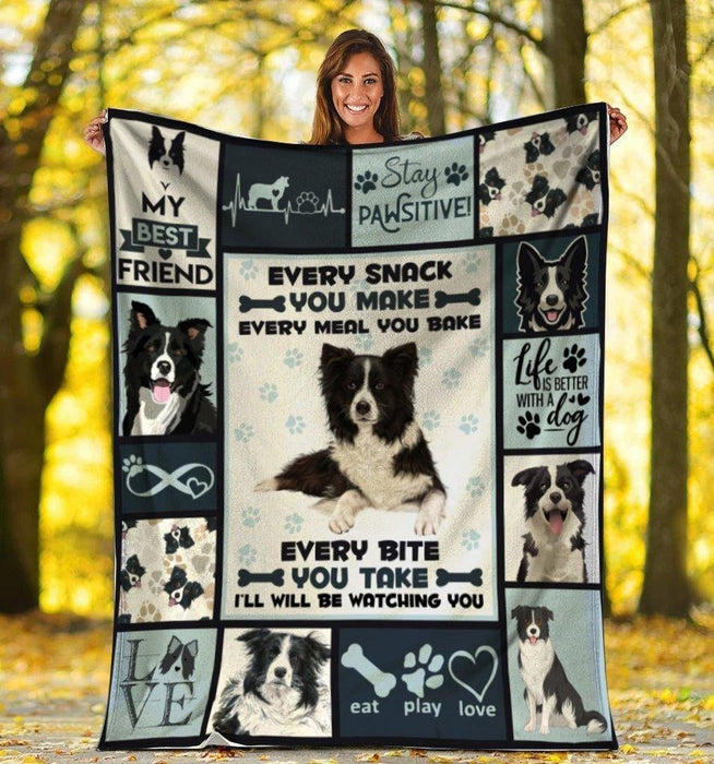 Dog Blanket Every Snack You Make Border Collie Dog Fleece Blanket