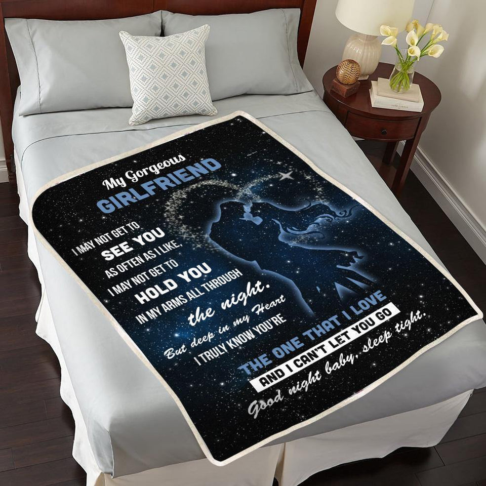 Girlfriend Blanket To My Gorgeous Girlfriend Good night baby sleep tight Fleece Blanket - Gifts for Girlfriend - Family Presents - Great Blanket, Canvas, Clothe, Gifts For Family