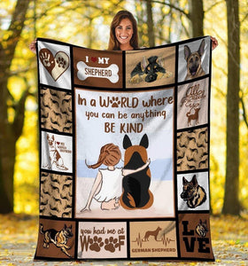 Dog Blanket German Shepherd Dog In A World Where You Can Be Anything Fleece Blanket