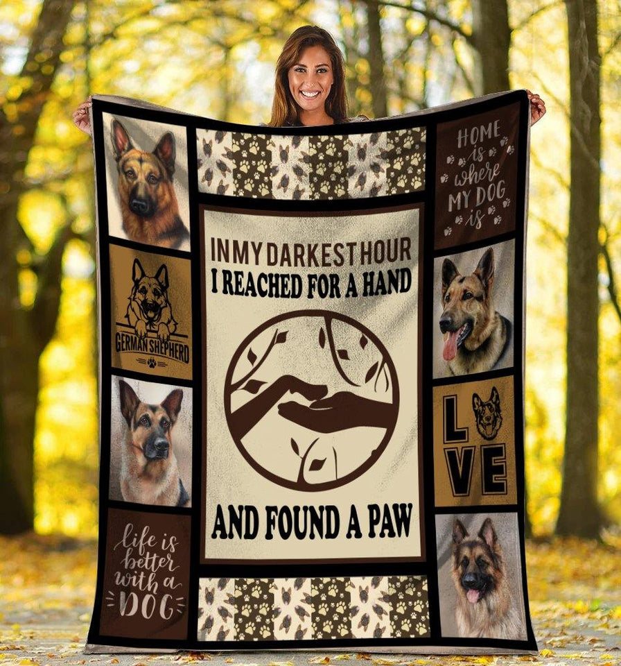 Dog Blanket German Shepherd Dog Paw In My Darkest Hour Fleece Blanket