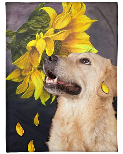 Golden Retriever Blanket, Golden Retriever Sunflower Fleece Blanket