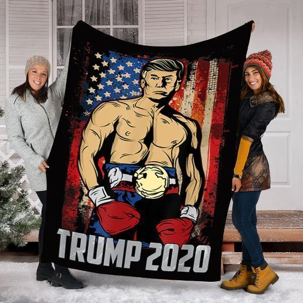 Custom Blanket Funny Trump Boxer Strong President Rocky Meme Blanket - Fleece Blanket - Personalized Blankets - Family Presents - Great Blanket, Canvas, Clothe, Gifts For Family