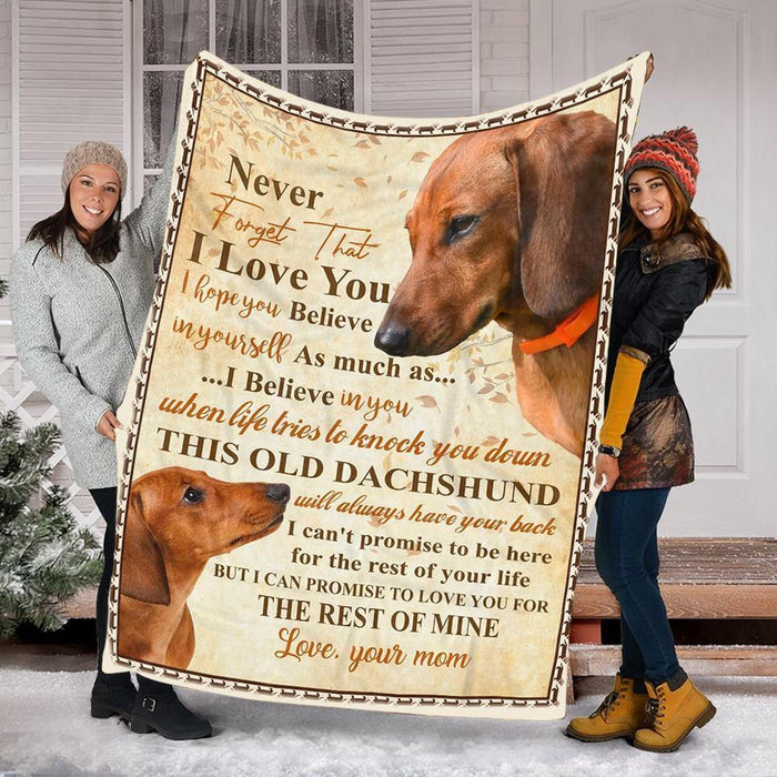 Custom Blanket Dachshund Dog Personalized Name Blanket - Fleece Blanket