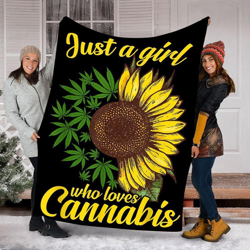 Custom Blanket Sunflower Cannabis Blanket - Gift For Girls - Fleece Blanket