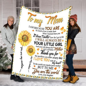Custom Blanket To My Mom Blaket - Perfect Gift For Mom - Fleece Blanket - Family Presents - Great Blanket, Canvas, Clothe, Gifts For Family