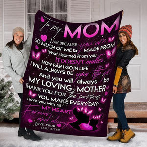 Mother's Day Gifts,   Custom Blanket To My Mom Blanket - Perfect Gift For Mom(1) - Fleece Blanket - Family Presents - Great Blanket, Canvas, Clothe, Gifts For Family