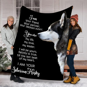 Custom Blanket Siberian Husky Dog Blanket - Dog Gifts - Fleece Blanket