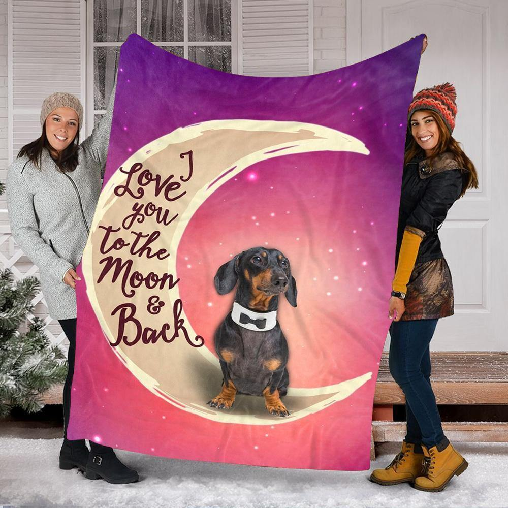 Custom Blanket Cute Dachshund Dog Blanket 2 - Fleece Blanket