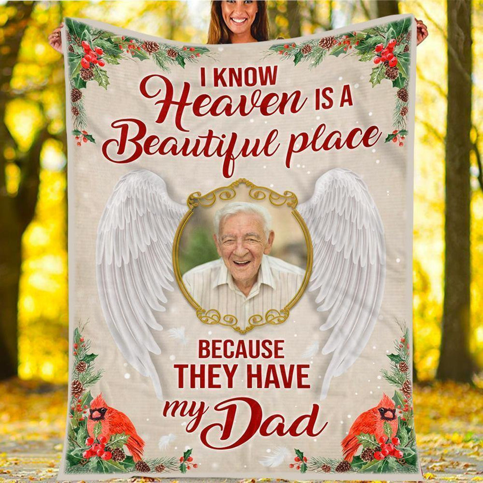 Custom Blanket Cardinal is Dad Personalized Photo - Gifts For Daughter - Fleece Blanket