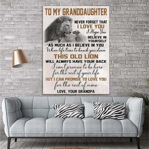 Custom Printing To My Granddaughter Lion Canvas Print Wall Art - Matte Canvas