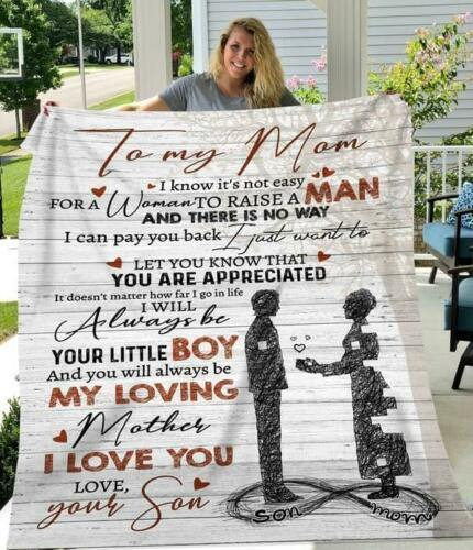 Mother Mom Blanket - To my mom blanket for mom from son - Blanket - gift for mother, gift for mom - Family Presents - Great Blanket, Canvas, Clothe, Gifts For Family