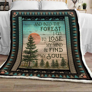 Camping Blanket - And into the forest I go to lose my mind & find my soul - Fleece Blanket - Family Presents