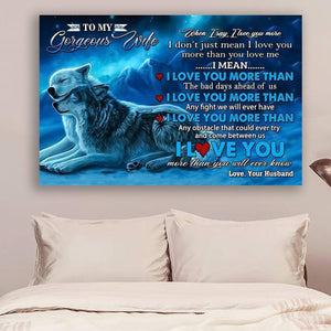 (LL30) Wolf Canvas - Husband to wife - I love you - Family Presents - Great Blanket, Canvas, Clothe, Gifts For Family