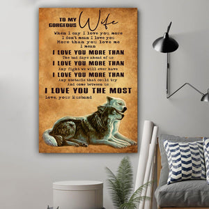 (LL41) Wolf Canvas - Husband to wife - I love you more than - Family Presents - Great Blanket, Canvas, Clothe, Gifts For Family