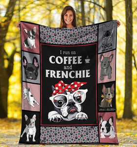 Dog Blanket I Run On Coffee And Frenchie French Bulldog Dog Red Dot Bandana Fleece Blanket - Family Presents - Great Blanket, Canvas, Clothe, Gifts For Family