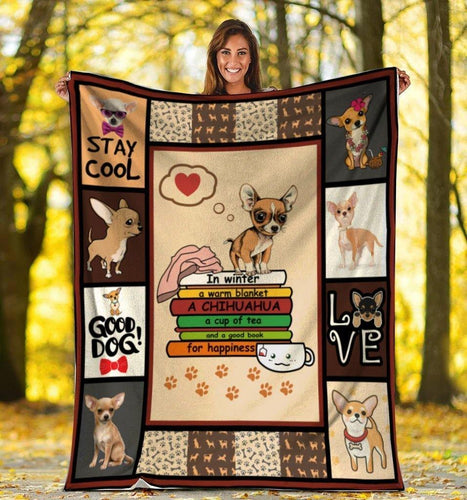 Dog Blanket In Winter A Warm Blanket A Chihuahua Dog Fleece Blanket - Family Presents - Great Blanket, Canvas, Clothe, Gifts For Family
