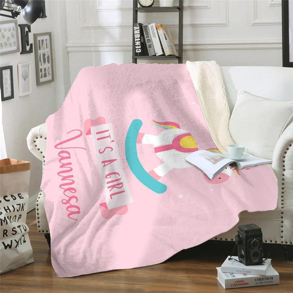 It's A Girl Personalized Sherpa Blanket