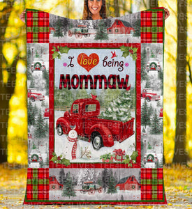 Custom Blankets - Mommaw Christmas Blanket Xmas - Fleece Blanket - Family Presents - Great Blanket, Canvas, Clothe, Gifts For Family