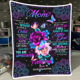 Mothers Day Blanket, Gift for mom from daughter, I just want to let you know that You are appreciated fleece blanket