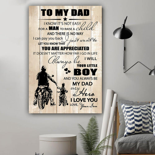 (LL26) Biker Canvas - Son to Dad - I know it's not easy - Family Presents - Great Blanket, Canvas, Clothe, Gifts For Family
