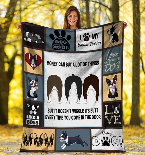 Dog Blanket Money Can Buy A Lot Of Thing Boston Terrier Dog Fleece Blanket - Family Presents - Great Blanket, Canvas, Clothe, Gifts For Family