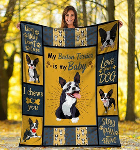 My Boston Terrier Is My Baby Fleece Blanket - Family Presents - Great Blanket, Canvas, Clothe, Gifts For Family