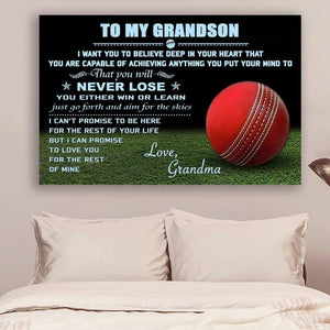(L202) Cricket ball Canvas - Grandma to grandson - Never lose - Family Presents - Great Blanket, Canvas, Clothe, Gifts For Family