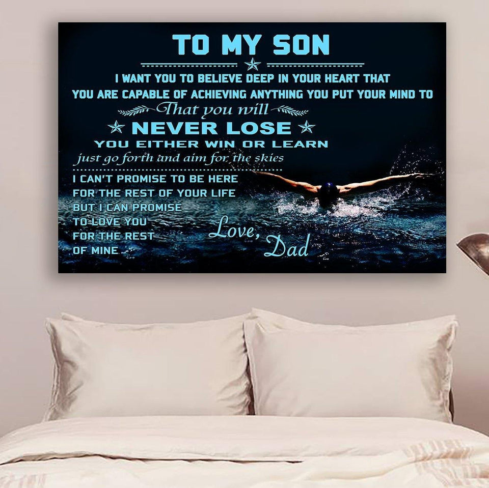 (L204) Swimming Canvas - Dad to son - Never lose