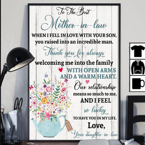 Gift For Mother-In-Law Thank You For Always Welcoming Me Into The Family Vertical Poster