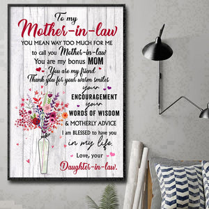 Gift For Mother-In-Law You Are My Friend Vertical Poster