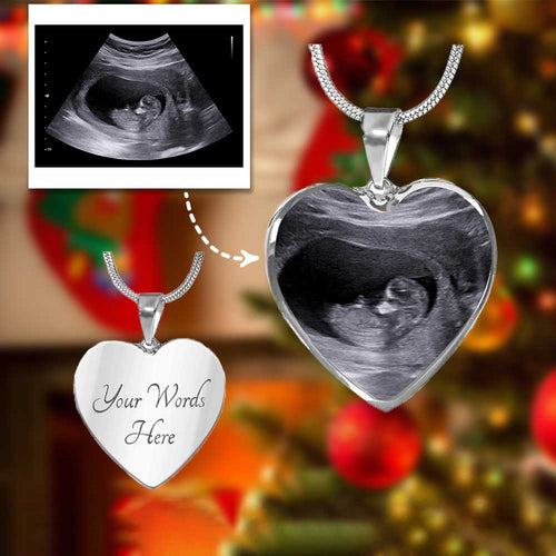 Mother's Day Necklace Personalized Ultrasound Sonogram Photo Heart Necklace Gift For Pregnant Mom
